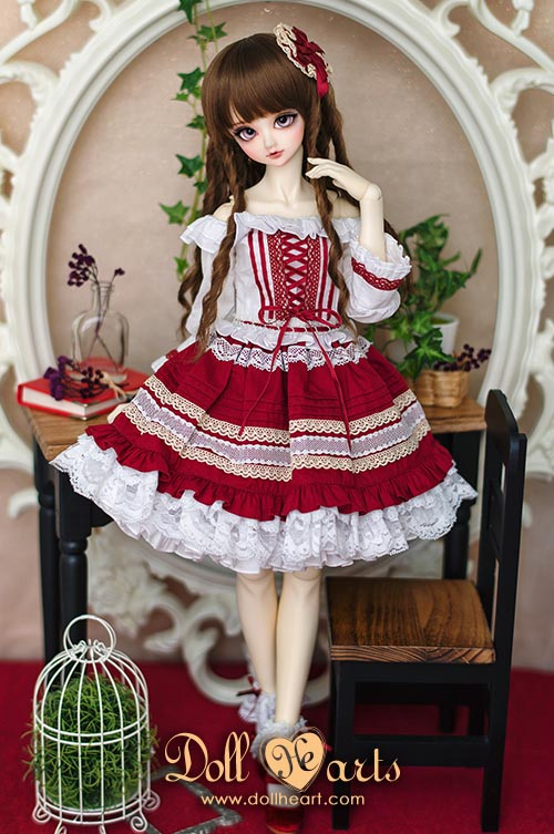 [Pre-order] LD000741 Lace Trim Dress Red Ver